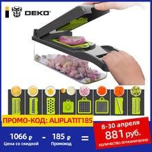 DEKO – Mandoline coupe-légumes multifonctionnel, coupe-fruits, éplucheur de pommes de terre, râpe à carottes, accessoires de cuisine avec panier de vidange