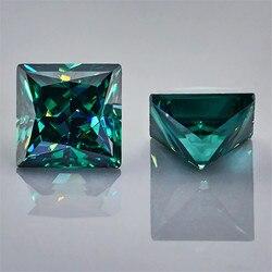 Wuzhou gran oferta diamante moissanites fantasía 1Ct color verde princesa corte moissanita piedra preciosa para la fabricación de joyas