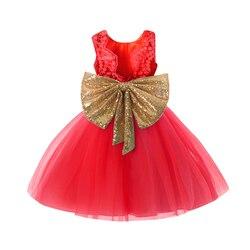 Meninas natal ano novo 2019 princesa menina roupas lantejoulas bowknot sem mangas sem costas vestido de festa para meninas roupas 1-5 anos