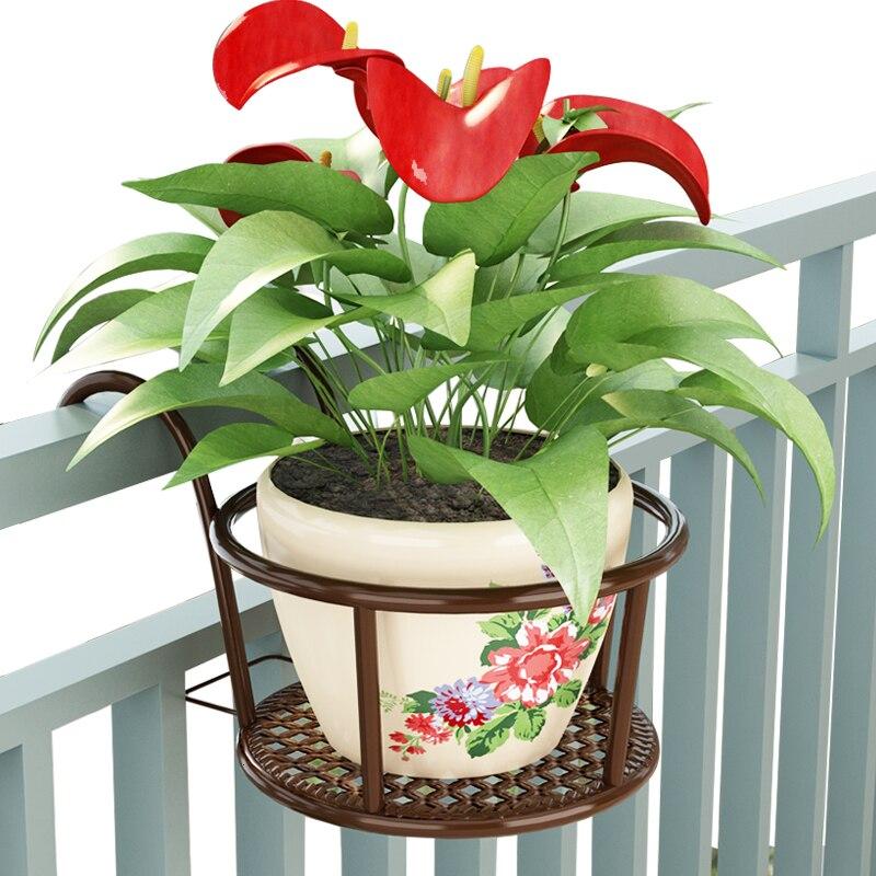 Art Balcony Flower Rack Railing Flower Rack Guardrail Hanging Type Flowerpot Frame Suspension Hanging Basket Frame Household
