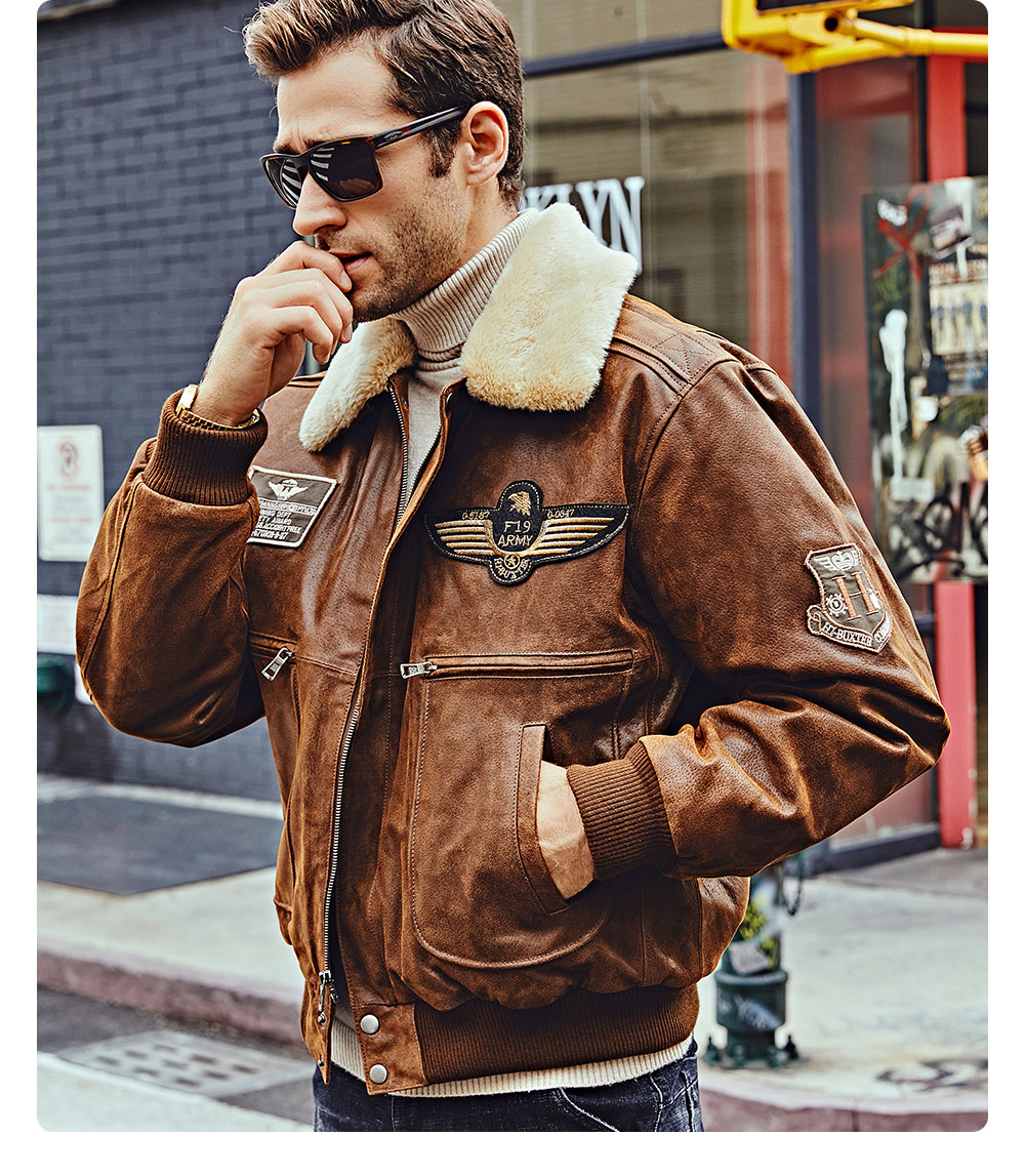 H165443010f7d4f5cb43bd8528afae6cf1 FLAVOR New Men's Real Leather Bomber Jacket with Removable Fur Collar Genuine Leather Pigskin Jackets Winter Warm Coat Men