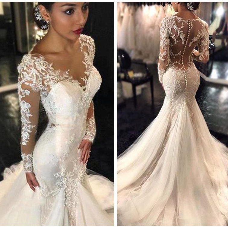 2019 Gorgeous Lace Mermaid Wedding Dresses African Arabic Style Petite Long Sleeves Fishtail Bridal Gown Plus Size