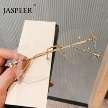JASPEER Sqaure occhiali per Computer donna occhiali da vista senza montatura oversize uomo UV400 occhiali da vista con blocco della luce blu