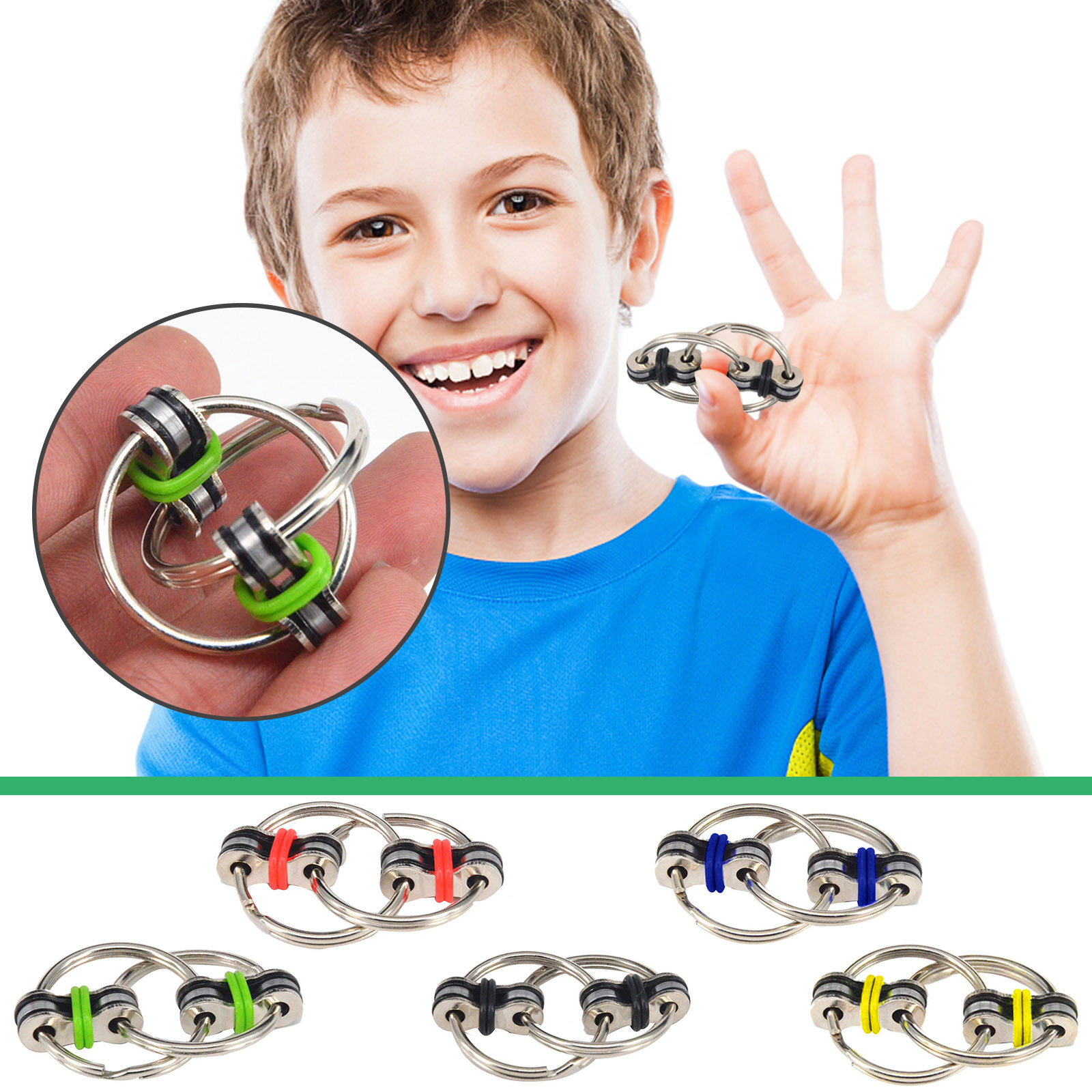Toys Bike-Chain Fidget-Toy Autism Stress ADHD Hands Children for Funny 8-Colors Creative