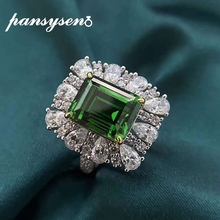 PANSYSEN Vintage 10x14MM Emerald Diamond Ring Genuine 925 Sterling Silver Fine Jewelry Gemstone Rings for Women Wholesale Gifts