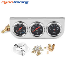 "2"" 52mm Chrome Panel Oil Pressure gauge Water Temp gauge AMP meter Triple Gauge kit set Black Face Car meter YC101324"