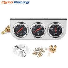 """2 """"52mm Panel cromado indicador de presión de aceite Indicador de temperatura de agua AMP meter Triple gauge kit set negro cara coche Metro YC101324"""