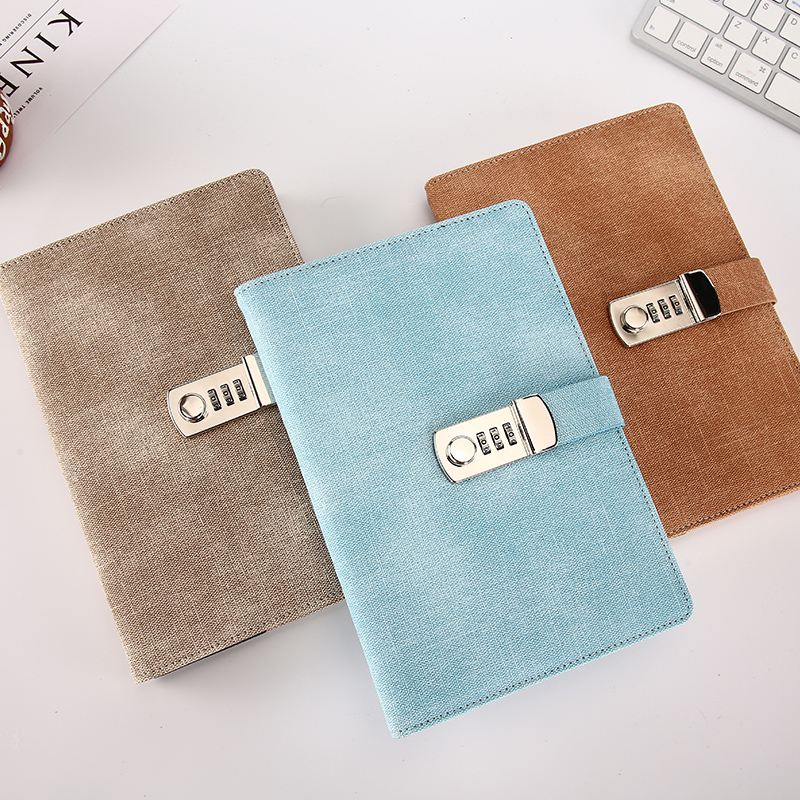 Password <font><b>Notebook</b></font> Paper Lockable Portable Book PU Leather Diary Lock <font><b>Traveler</b></font> <font><b>Journal</b></font> Weekly Planner School Stationery Gifts image