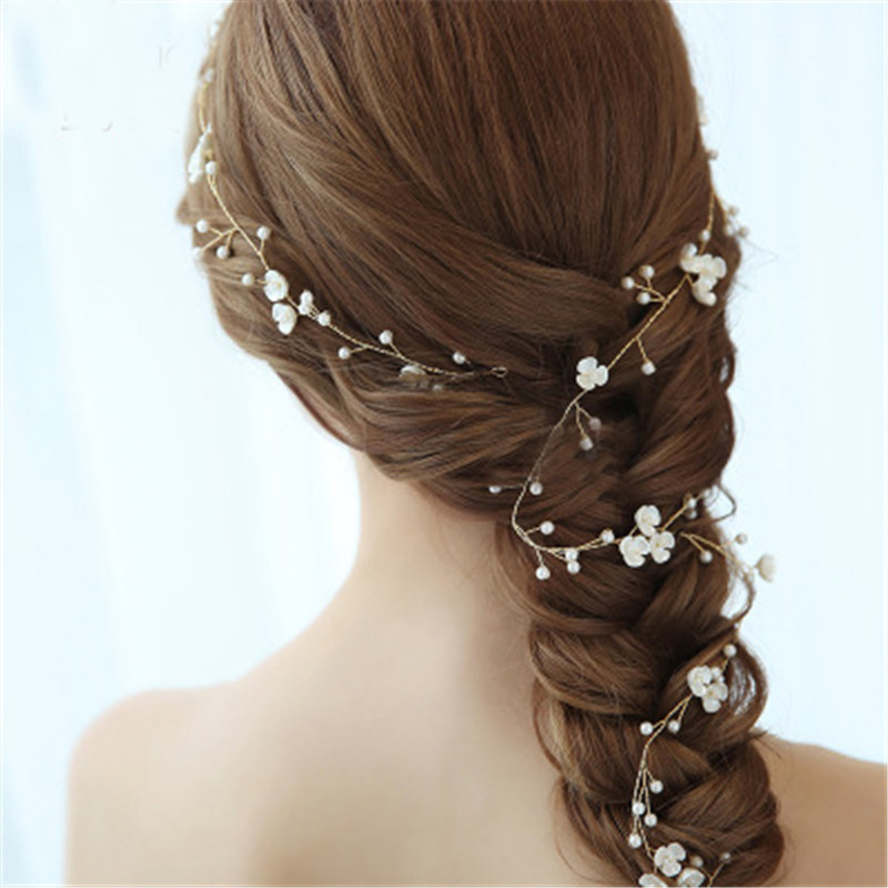 Long Bridal Hairband Pearls Women Jewelry Accessories Statement Handmade Bride Headwear Leaves Headband Charms Headpieces Gifts