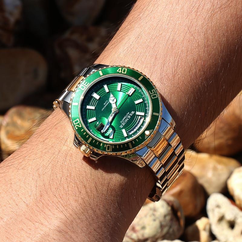 Automatic Mechanical Watch WAKNOER Brand Tourbillon Watches Men Business Watches Luminous Calendar Male Clock 2019