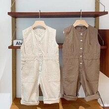 Toddler Boys Girls Rompers Ruffles Solid Vest Linen Romper Jumpsuit Unisex Baby
