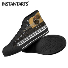 INSTANTARTS Brand Designer Classical Guitar Piano Key Printed High Top Vulcanize Male Canvans Shoes Sneakers Men Chaussure Homme