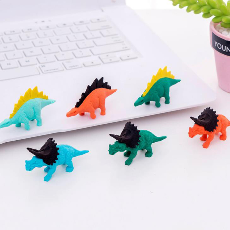 3 Pcs/set Mini Animal Dinosaur Series Eraser Rubber Pencil Erasers Kids Students Gift Prize Stationery