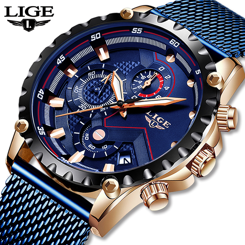 2020 New LIGE Blue Casual Mesh Belt Fashion Quartz Gold Watch Mens Watches Top Brand Luxury Waterproof Clock Relogio Masculino