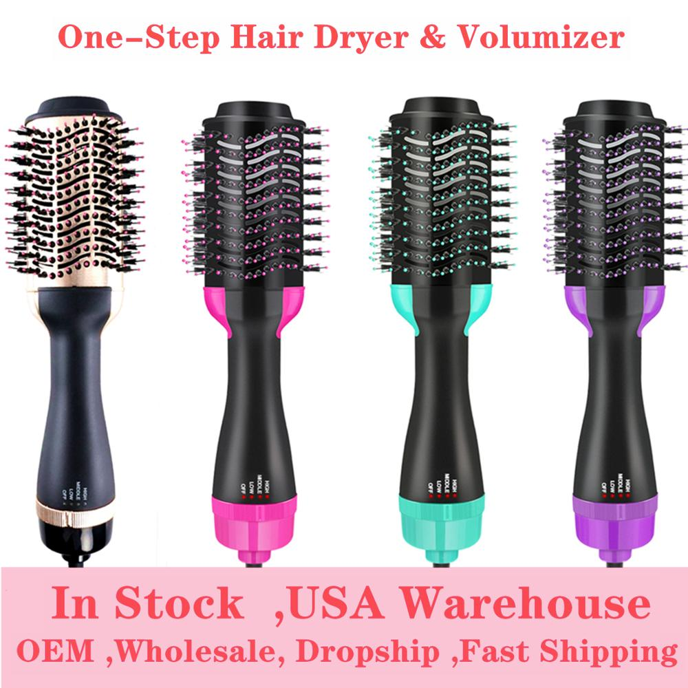 Professional 2 In 1 Multifunctional Hair Dryer Volumizer One Step Hair Drying Brush Electric Hair Dryer Rotating Hairdryer