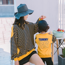 family matching clothes Hoodies Full mother and daughter clothes Cotton Striped Letter sweatshirt mom and son matching clothes