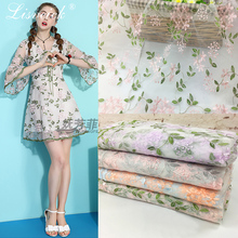 1yard 3D Embroidery leaves Flower mesh Tulle Fabric for Wedding Dress Skirts clothes Home Decoration