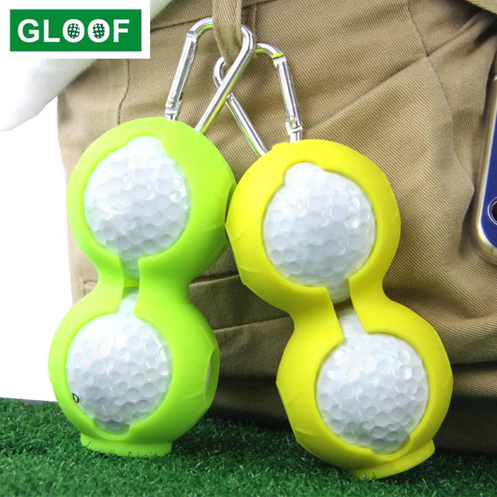 1Pcs Portable Golf Ball Protective Holder Cover Golf Ball Silicone Double Case Cover Golf Training Sports Accessories 6 Colors 1