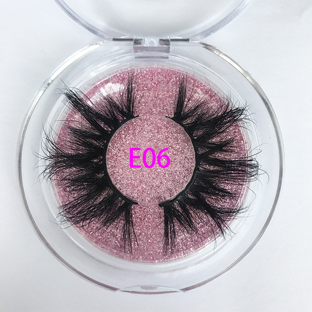 25mm E06 MIKIWI 100% handmade natural  thick  Eye lashes wispy makeup extention tools 3D mink hair volume soft false  eyelashes 2