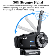 Fodsports FX8 Motorcycle Helmet Group Intercom Wireless Bluetooth Headset Waterproof Multi Interphone Intercomunicador Moto FM