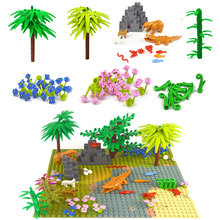 City Bulk Brick Accessories Building Block Plant Tree Grass Flower Animal Bamboo River baseplate Compatible All Brands City toys cheap leduo Unisex 6 years old Small building block(Compatible with Lego) Certificate Keep away from fire Plastic Building block accessories