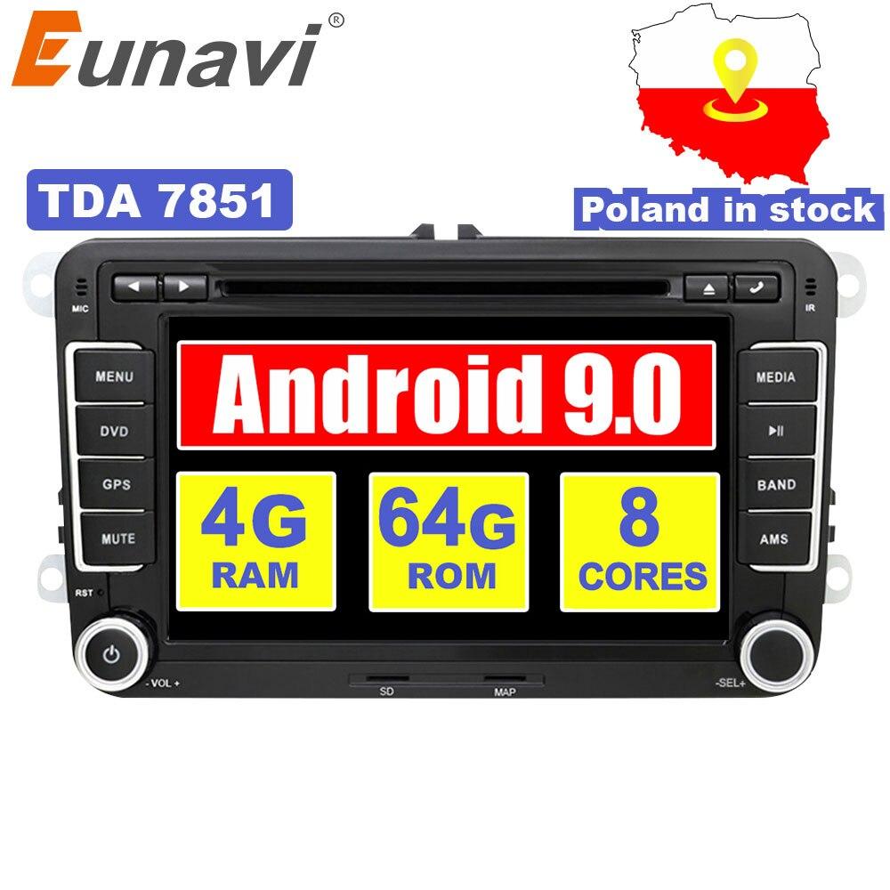 Eunavi 2 Din Android 9.0 samochodowy odtwarzacz dvd Radio nawigacja gps dla VW GOLF 6 Polo Bora JETTA B6 PASSAT Tiguan SKODA OCTAVIA IPS TDA7851 4G 64G