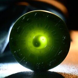 Naturalne 7A hetian zielonego jadeitu wisiorek Tai Chi zodiaku ręcznie rzeźbione wisiorki naszyjnik marka mężczyźni kobiety prawdziwe jade biżuteria jadeit
