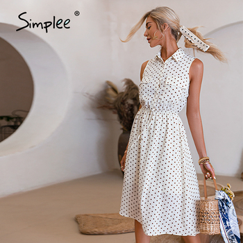 Simplee Elegant polka dot pocket sleeveless dress summer French style sash women dresses spring Casual office