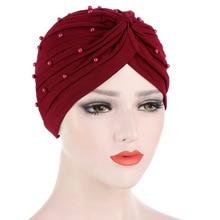 Scarf Head-Wrap Hair-Accessories Turban Cotton Women New Pearl Solid Hijabs Inner Elastic