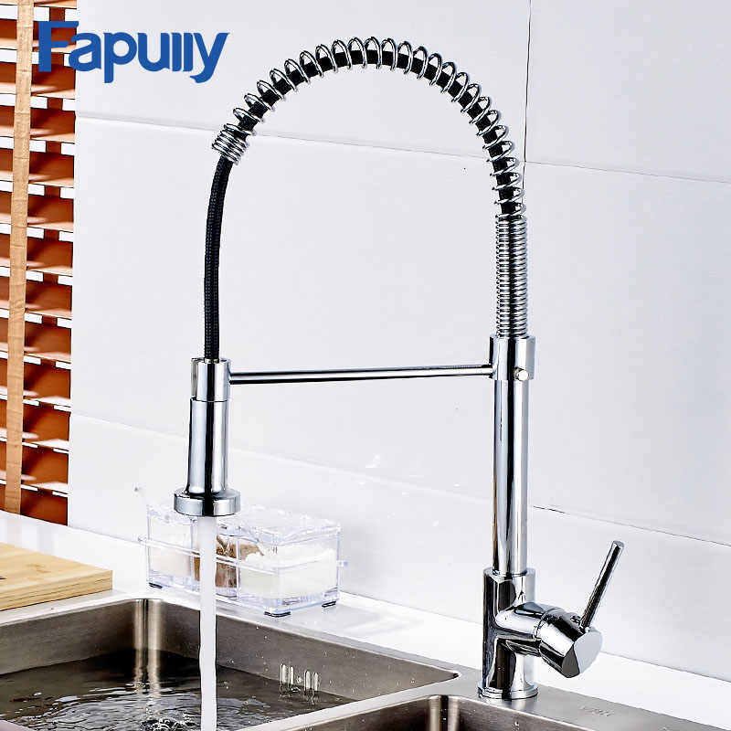 Fapully Kitchen Faucets Silver Chrome Faucet For Kitchen Sink Single Lever Pull Out Spring Spout Mixers Tap Hot Cold Water Crane Kitchen Faucets Aliexpress