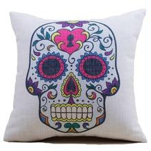 Pillow factory hemp cotton European American skull digital printing pillow cover cushion cover