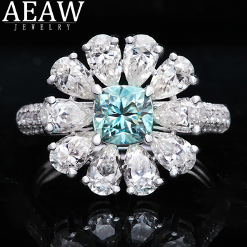 Luxury Flower Style Blue 0.6ct 5mm Cushion Cut set with 3X5MM Peart Cut Moissanite Halo Engagement Ring Real 18k White Gold transgems 7 5mm 7 5mm 2carat deep blue color cushion cut moissanite bead test positive as real diamond 1 piece