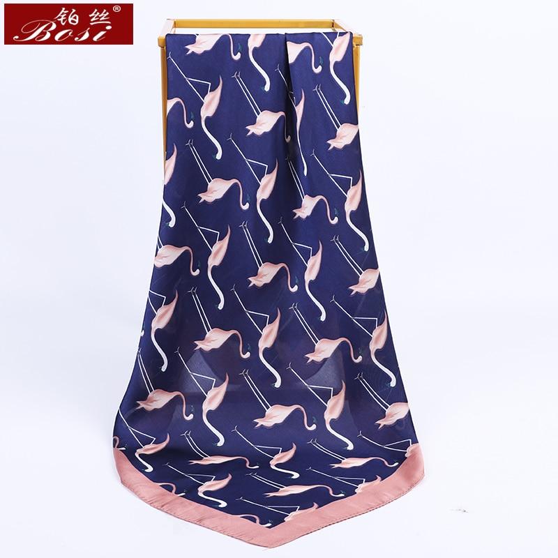 BOSI 2020 Fashion Satin Silk Scarf For Women  70x70 CM Scarf  Print Luxury Brand Flamingo Summer Shawl Square Scarves Wholesale