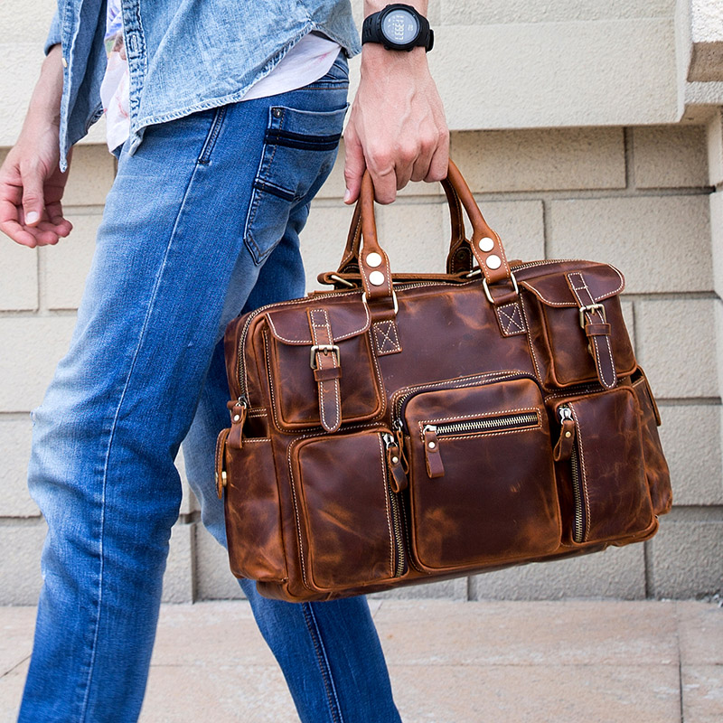 Luufan High Fashion Leather Briefcase Bag Male Designer Handbags Crazy Horse Leather Shoulder Business Bags 15.6 Inch Laptop Bag