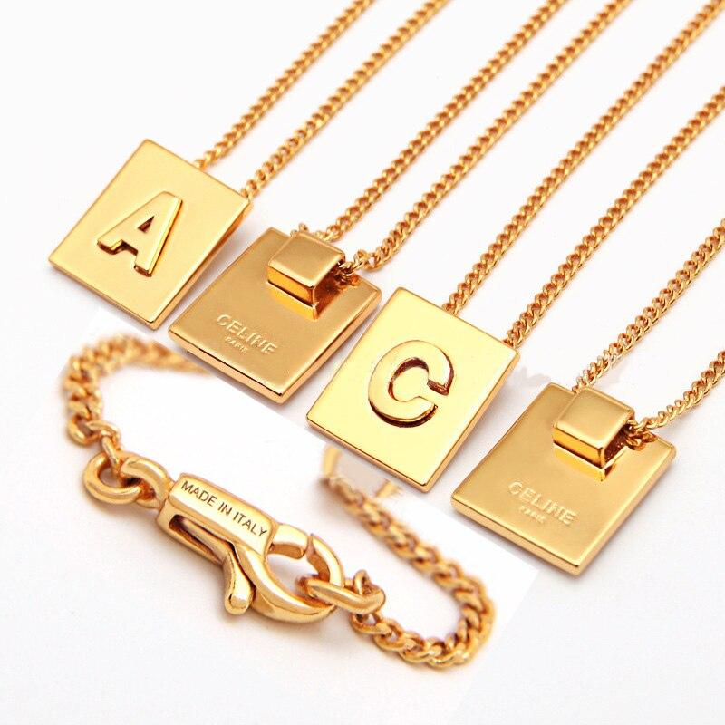 Collier micro lettre initiale colliers Couple nom collier dragon collier haut carré 26 Alphabet pendentif mode breloque or