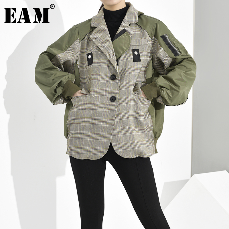 [EAM] Loose Fit Plaid Split Joint Oversized Jacket New Lapel Long Sleeve Women Coat Fashion Tide Spring Autumn 2020 1D6360