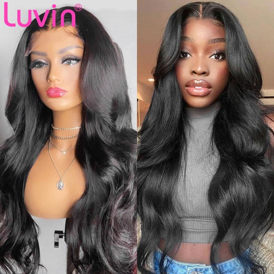 Luvin волосы 13x4 кружевные парики для черных женщин длинные бразильские волнистые человеческие волосы парики на сетке фронтальный парик предв...