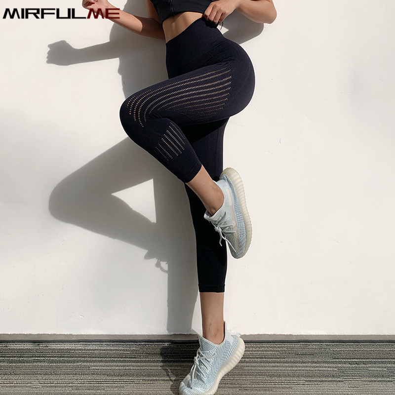 Women High Waist Seamless Sports Leggings Cropped Yoga Pant Girls Elastic Quick Dry Capris Hollow Out Gym Running Legging Tights