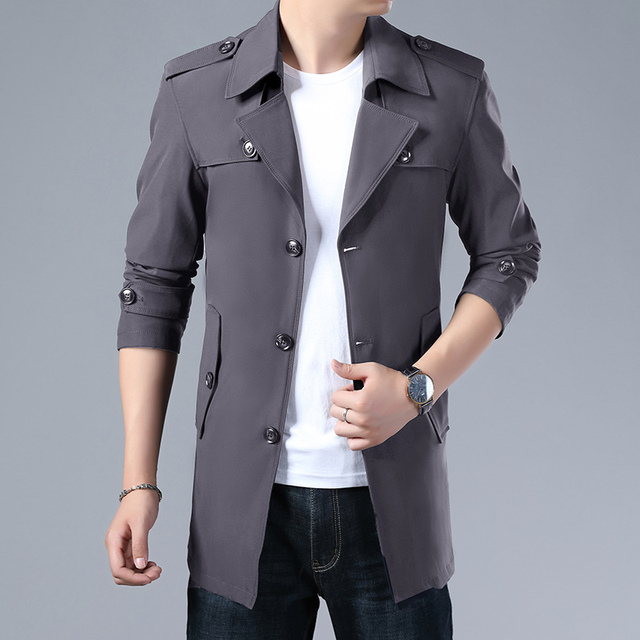 Thoshine Brand Spring Autumn Men Trench Coats Superior Quality Buttons Male Fashion Outerwear Jackets Windbreaker Plus Size 4XL 3