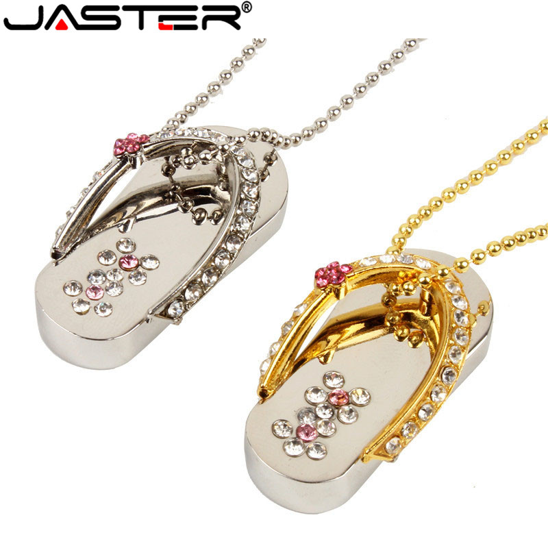 JASTER Lovely Metal Jewelry Slipper Crystal USB Flash Drive Special Gift Fashion Pendrive 4GB 8GB 16GB 32GB Memory Stick Gift
