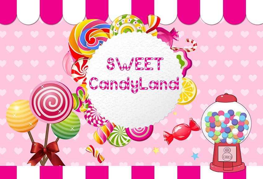 GFUITRR Sweet Candyland foto telón de fondo Baby Shower Girls cumpleaños Rosa fotografía Fondo vinilo Photo Booth Props