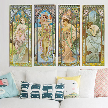 Alphonse Mucha Maria Moon Flower Goddess Oil Painting on Canvas Posters and Prints Cuadros Wall Art Pictures For Living Room