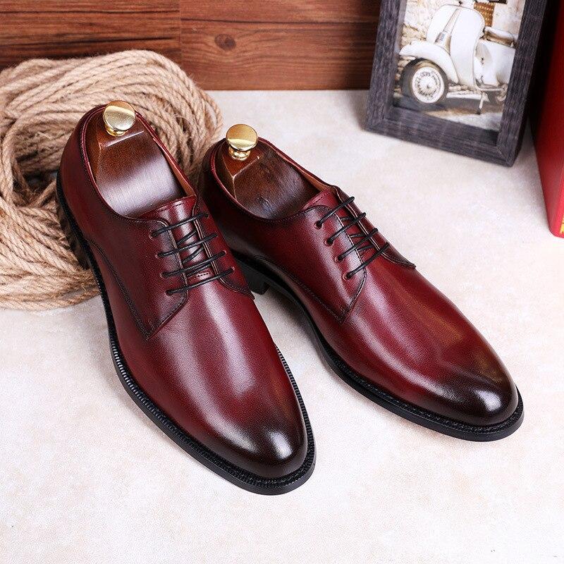 BACKCAMEL/Новинка 2018 года; туфли с закрытым носком; повседневная мужская обувь в деловом стиле; Модные Мужские модельные туфли с острым носком в ... - 4