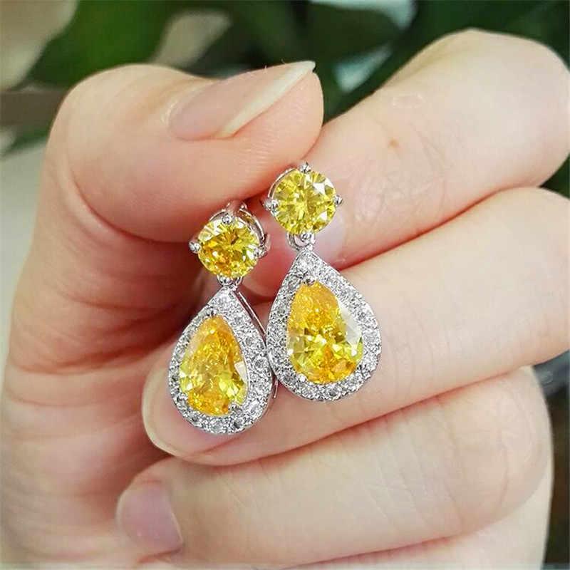 Luxo feminino cristal amarelo pedra brincos 925 prata esterlina pendurado gota brincos jóias casamento longo balançar brincos