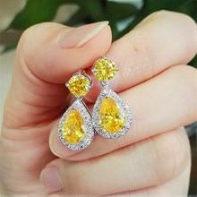 Luxury Female Crystal Yellow Stone Earrings silver color Hanging Drop Wedding Jewelry Long Dangle