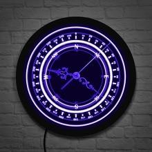 Reloj de iluminación LED de pared con brújula náutica, brújula redonda azul marino, rosa de viento, iluminación clásica, luz de pared, diseño de navegación, reloj
