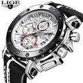 Новые мужские часы LIGE Топ бренд класса люкс Большой циферблат военные кварцевые часы повседневные кожаные водонепроницаемые спортивные ча...