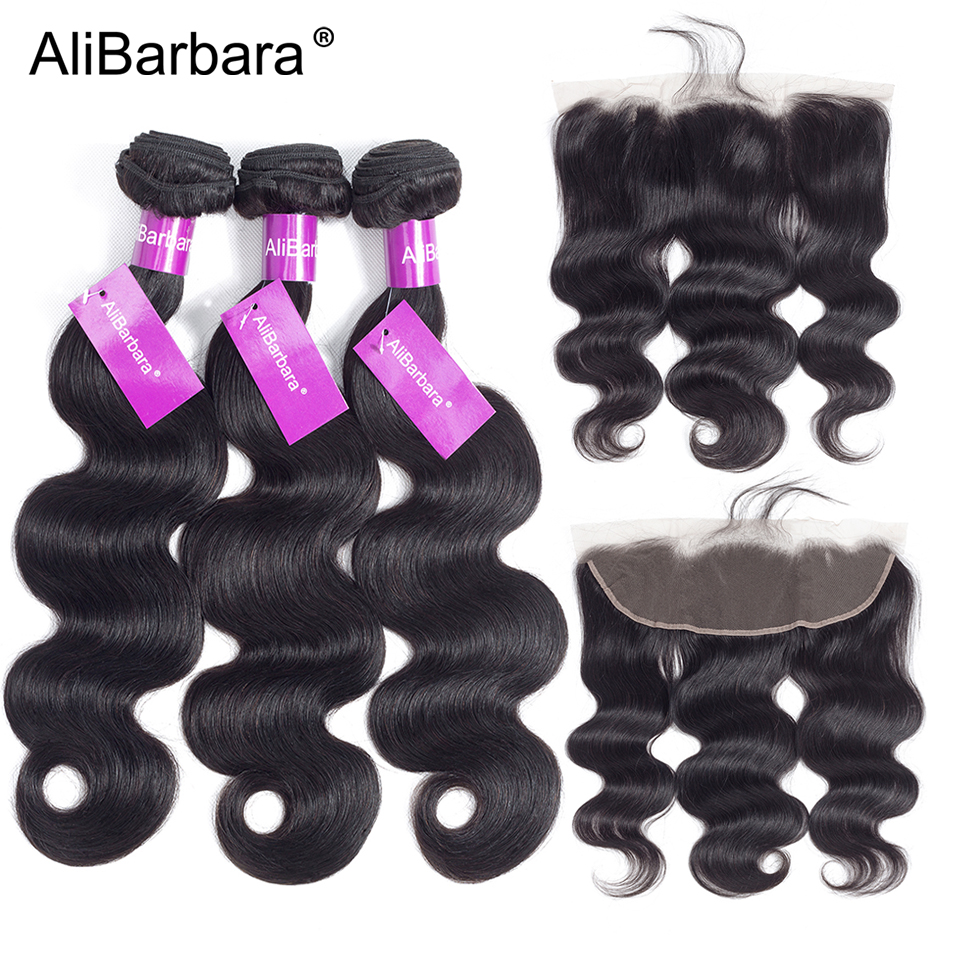 AliBarbara Remy Brazilian Body Wave Bundles With Frontal Closure 13X4 ear to ear Human Hair frontal with Bundles swiss lace-in 3/4 Bundles with Closure from Hair Extensions & Wigs