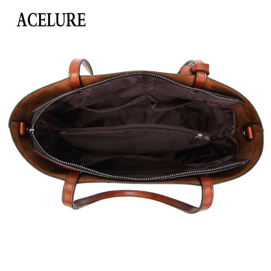 ACELURE بلون حقائب كتف للنساء لينة بولي Leather حقائب جلدية عادية للإناث كل مباراة السيدات حقائب عالية السعة