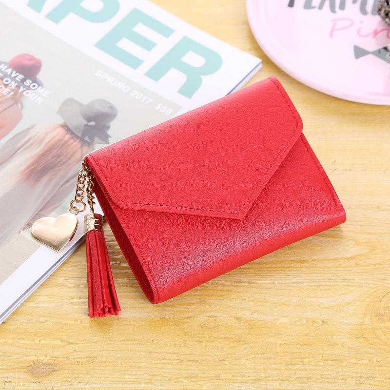 Женский кошелек, милый, студенческий, с кисточкой, с подвеской, тренд, маленький, модный, кожзам, кошелек,, кошелек для монет, для женщин, дамская сумка для карт, для женщин, LMJZ - Цвет: Красный